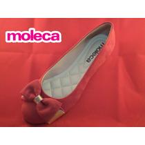 Sapatilha Moleca Ref.5094.357 - Camurça Com Laço Vermelho