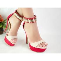 Sapato Salto Alto Vermelho Dourado Couro Lindo Importado