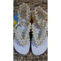 Sandálias Havaianas Bordadas Com Pérolas