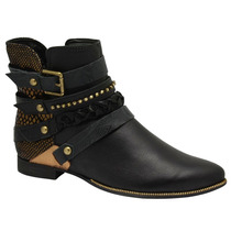 Bota Ankle Boot Tanara N7022 Cano Curto Salto Baixo Montaria