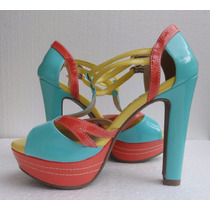 Sandália Salto Zatz - Color Block - Nº 36 - Pronta Entrega