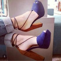 Sapato Feminino Sandália Salto Plataforma Salto 15cm Balada