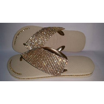 Chinelo Havaianas Decorado Com Manta E Strass