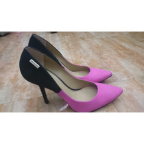 Scarpin Bicolor Preto/pink De Couro - Tamanho 37