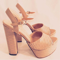 Sandalia Salto Grosso Alto Leluel Shoes Inspiração Schutz