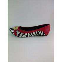 Sapatilha Feminina Rafaela Coutti Vermelha Zebra