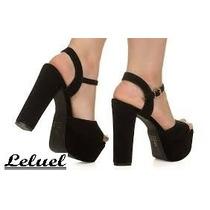 Sandália Camurça Salto Gross Leluel Shoes Inspiração Schutz