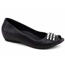 Sapato Peep Toe Feminino Couro Usaflex Original N2241 Pixolé