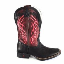 Bota Goyazes Preta Vermelha Sapato Coturno Cano Medio