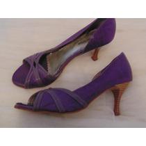 Sapato Feminino Roxo Peep-toe Cód. 863