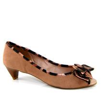 Sapato Peep Toe Via Uno 11302501 - Bege - Olfer Calçados