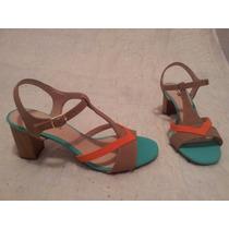 Sandália Salto Baixo Colorida