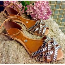 Rasteirinha Sandália Baixa Pedra Marca Leluel Shoes