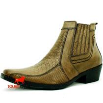 Bota Country Bico Fino Cowboy Couro Escama Oliva Bruta D+