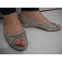 Sapato Moleca Bege Tam 36 Salto Baixo Usado Bom Estado