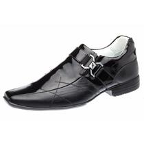 Sapato Masculino Envernizado Italiano Em Couro