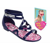 Sandália Infantil Grendene Barbie Azul Com Oculos Sun Love