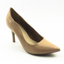 Sapato Scarpin Feminino Peep Toe Nude Verniz 2016