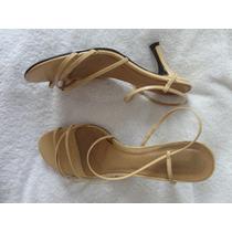 Sandalia Tiras Salto Alto Bege/ Nude 36 Linda