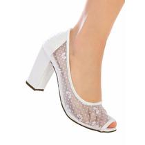 Sapato Peep Toe Noivas Couro Sint Com Renda Branco - Divino!