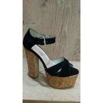 Sapatos Femininos Sandália Salto Plataforma Cortica