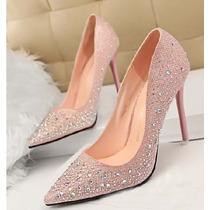 Sapato Feminino Salto Alto Diamante Brilhando Pronta Entrega