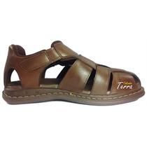 Sandália De Couro Legítimo Com Velcro Macia E Confortável