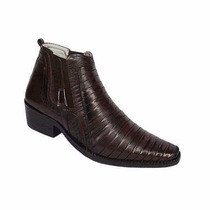 Bota Botina Country Texana Tatu Couro Nevano 100% Couro