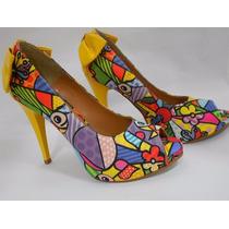 Peep Toe Mosaico Amarelo (inspired Romero Brito)