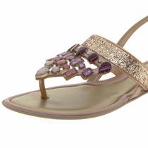 Rasteira Grendha Diamantes - Cor Bronze - Molesinha Calçados