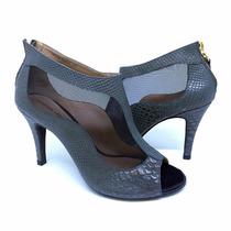 Sapato Feminino Ankle Boot Couro Cobra Verde Esc Salto Alto