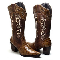 Bota Botina Feminina Texana Country Couro Jacaré Cano Bordad