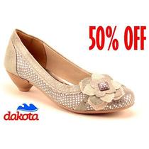 20%off Sapato Dakota Conforto Couro Bege B3015