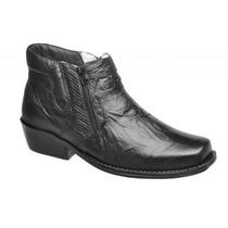 Sapato Bota Botina Masculina Bico Quadrado Couro Conforto