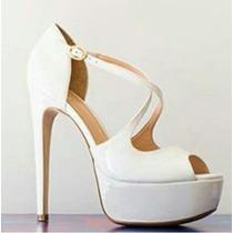Sapato Feminino Sandália Plataforma De Noiva