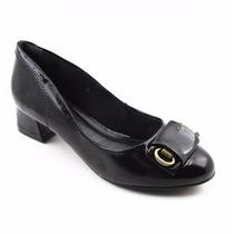 Sapato Salto Baixo Quadrado Preto Ramarim Em Couro 583919