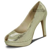 Sapato Scarpin Peep Toe Meia-pata Dijean Ouro Cobra Original