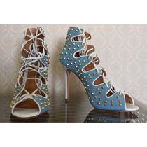 Sandália Salto Alto, Amarração Jeans/couro/spikes, Schutz 37
