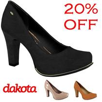 20% Off Sapato Scarpin Dakota Couro B7101 - Preto