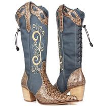 Bota Feminina Country Texana - Jacare - Capelli Boots
