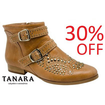 30% Off Ankle Boot Bota Tanara Couro N3981 - Caramelo