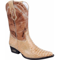 Bota Masculina Texana Country Western Rodeo Couro Jacaré