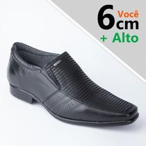 Sapato Social Masculino Pegada Aumenta Altura Couro Original
