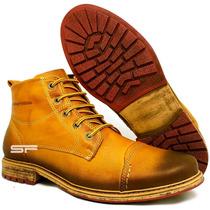 Bota Coturno Masculina Amarela Couro Legítimo Exclusiva