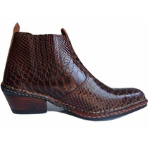 Bota Botina Texana Country Couro Escamada Anaconda Oferta!