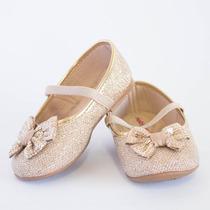 Sapatilha Infantil Molekinha Tela Glamour Dourado 9603 N. F.