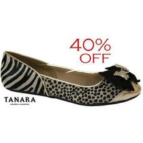45% Off Sapatilha Tanara Couro Onça/zebra - Animal Print