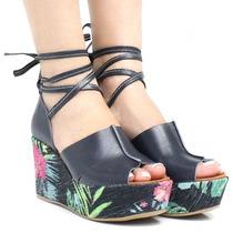 Sandália Zariff Shoes Anabela Azul Floral | Zariff