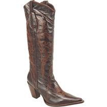 Bota Country Feminina Texana Lady Silver Couro Mustang Café