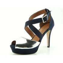 Sandália Glamm Meia Pata Tiras Fivela Azul Sapatos Mania